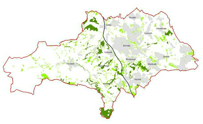 Map of Barnsley showing ancient woodlands